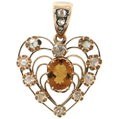 Handcraft Heart 14 Karat Yellow Gold Diamonds Citrine Pendant Necklace