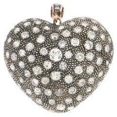 Handcraft Heart 14 Karat Yellow Gold Diamonds Pendant Necklace