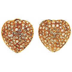 Handcraft Hearts 18 Karat Yellow Gold Diamonds Stud Earrings