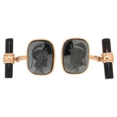 Handcraft Hematite 18 Karat Yellow Gold Onyx Barrels Cufflinks
