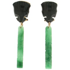 Handcraft Jade 14 Karat Yellow Gold Onyx Drop Earrings