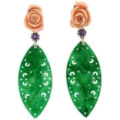 Handcraft Jade 18 Karat White Gold Amethyst Coral Drop Earrings
