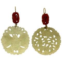 Handcraft Jade 18 Karat Yellow Gold Coral Drop Earrings