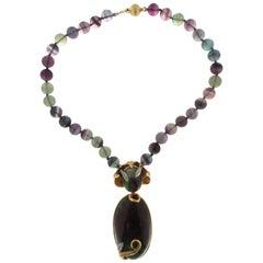 Handcraft Jadeite Jade 18 Karat Yellow and White Gold Diamonds Pendant Necklace