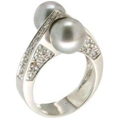 Handcraft Japan Pearls 18 Karat Diamonds Gold Diamonds Cocktail Ring