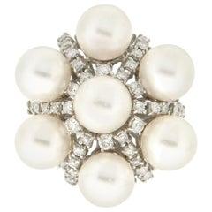 Handcraft Japan Pearls 18 Karat White Gold Diamonds Cocktail Ring