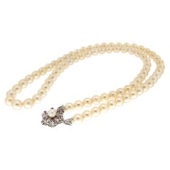 Handcraft Japan Pearls 18 Karat White Gold Strand Rope Necklace