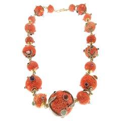 Handcraft Japanese Coral 18 Karat Gold Diamonds Necklace