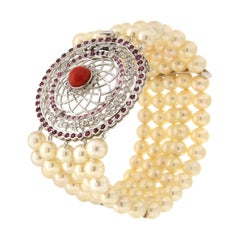 Handcraft Japanese Pearls 18 Karat White Gold Diamonds Ruby Cuff Bracelet