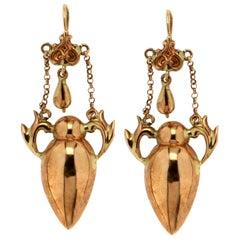 Handcraft Jars 14 Karat Yellow Gold Drop Earrings