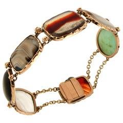 Handcraft Jasper 14 Karat Yellow Gold Cuff Bracelet