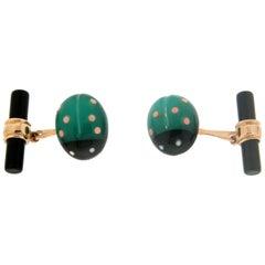 Handcraft Ladybug 14 Karat Yellow Gold Agate and Onyx Cufflinks