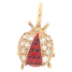 Handcraft Ladybug 14 Karat Yellow Gold Diamonds Pendant Necklace