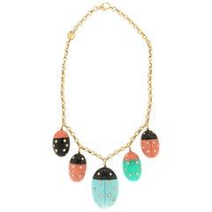 Handcraft Ladybugs Coral 18 Karat Yellow Gold Diamonds Onyx Choker Necklace
