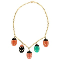 Handcraft Ladybugs Coral 18 Karat Yellow Gold Diamonds Onyx Choker Necklace