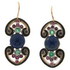Handcraft Lapis 14 Karat Yellow Gold Ruby Emeralds and Sapphires Drop Earrings