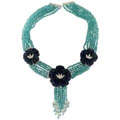 Handcraft Lapis 18 Karat White Gold Uvarovite Diamonds Multi-Strand Necklace