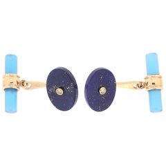 Handcraft Lapis Lazuli 14 Karat Yellow Gold Agate Barrels Cufflinks