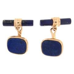 Handcraft Lapis Lazuli 14 Karat Yellow Gold Cufflinks