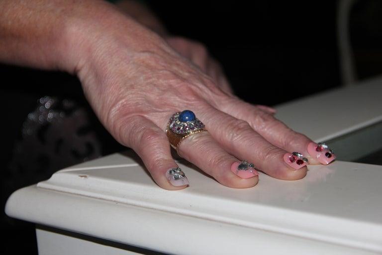 Handcraft Lapis Lazuli 14 Karat Yellow Gold Diamonds Ruby Cocktail Ring For Sale 4