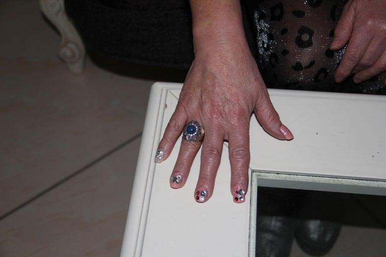 Handcraft Lapis Lazuli 14 Karat Yellow Gold Diamonds Ruby Cocktail Ring For Sale 6