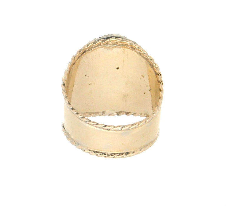 Mixed Cut Handcraft Lapis Lazuli 14 Karat Yellow Gold Diamonds Ruby Cocktail Ring For Sale