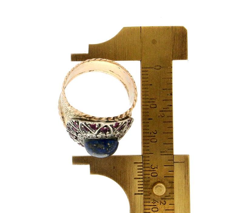 Handcraft Lapis Lazuli 14 Karat Yellow Gold Diamonds Ruby Cocktail Ring For Sale 1