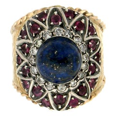 Handcraft Lapis Lazuli 14 Karat Yellow Gold Diamonds Ruby Cocktail Ring