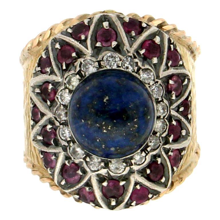 Handcraft Lapis Lazuli 14 Karat Yellow Gold Diamonds Ruby Cocktail Ring For Sale