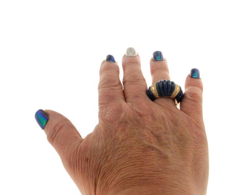 Handcraft Lapis Lazuli 18 Karat Yellow Gold Diamonds Cocktail Ring For Sale 5