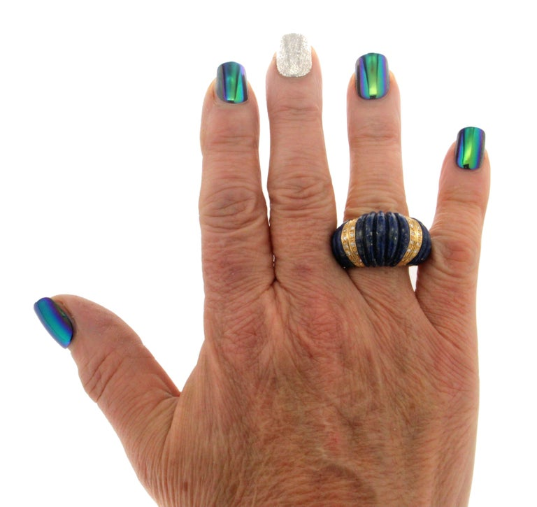 Handcraft Lapis Lazuli 18 Karat Yellow Gold Diamonds Cocktail Ring For Sale 6