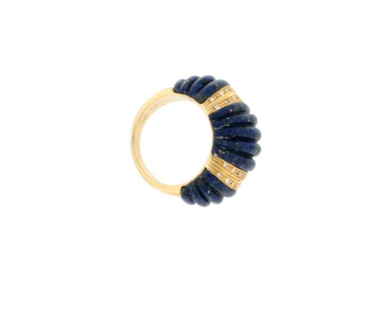 Artisan Handcraft Lapis Lazuli 18 Karat Yellow Gold Diamonds Cocktail Ring For Sale