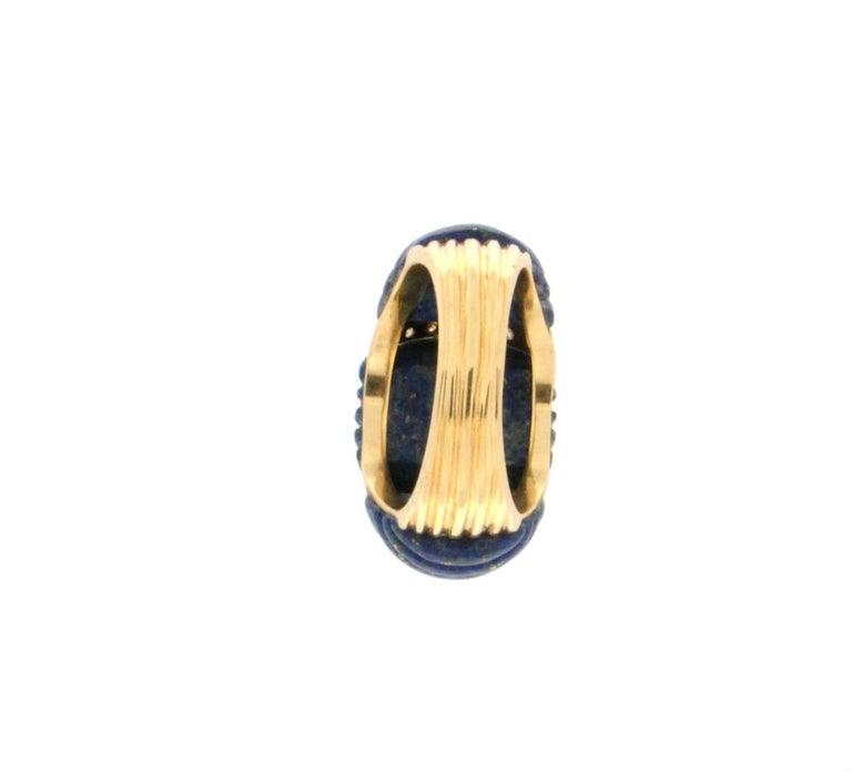 Brilliant Cut Handcraft Lapis Lazuli 18 Karat Yellow Gold Diamonds Cocktail Ring For Sale