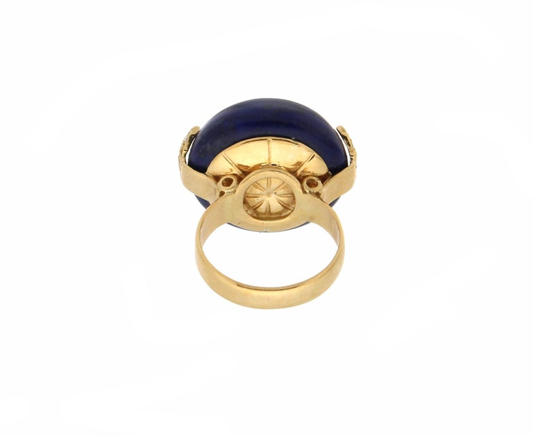 Handcraft Lapis Lazuli 18 Karat Yellow Gold Diamonds Cocktail Ring In New Condition For Sale In Marcianise, IT