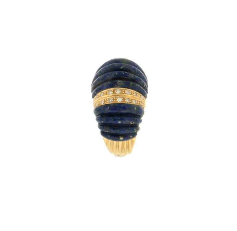 Women's or Men's Handcraft Lapis Lazuli 18 Karat Yellow Gold Diamonds Cocktail Ring For Sale