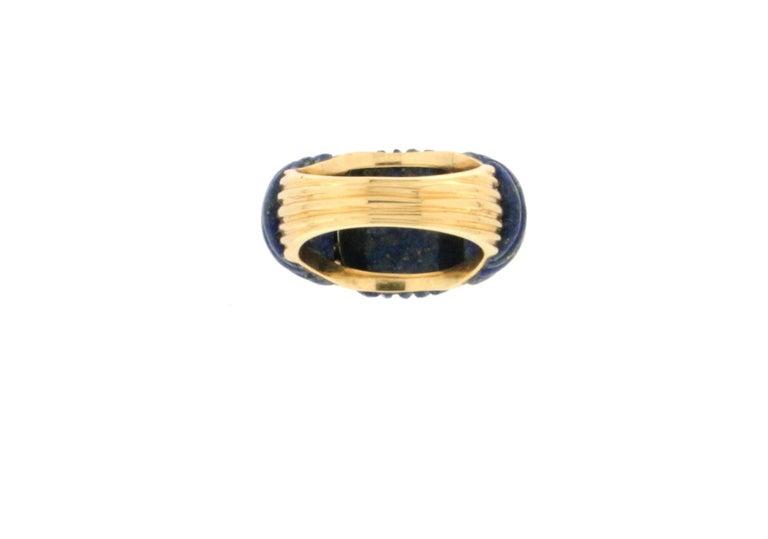 Handcraft Lapis Lazuli 18 Karat Yellow Gold Diamonds Cocktail Ring For Sale 2