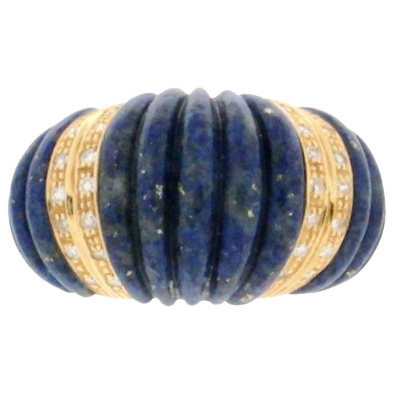 Handcraft Lapis Lazuli 18 Karat Yellow Gold Diamonds Cocktail Ring For Sale