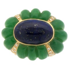 Handcraft Lapis Lazuli 18 Karat Yellow Gold Jade Diamonds Cocktail Ring