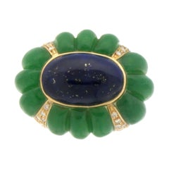 Handcraft Lapis Lazuli 18 Karat Yellow Gold Jade Diamonds Cocktail Ring