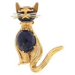 Handcraft Lapis Lazuli 18 Karat Yellow Gold Ruby Cat Brooche
