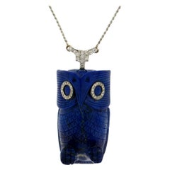 Handcraft Lapis Owl 18 Karat White Gold Diamonds Pendant Necklace