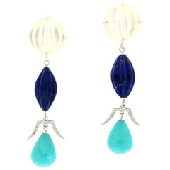 Handcraft Lapis Turquoise Pearl 18 Karat White Gold Diamonds Drop Earrings