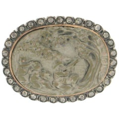 Handcraft Lava Cameo 14 Karat Gold and Silver Diamonds Brooch