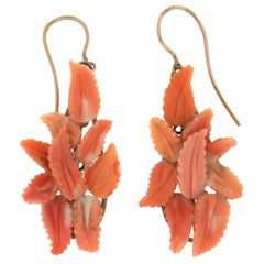 Handcraft Leaves 9 Karat Yellow Gold Coral Drop Earrings