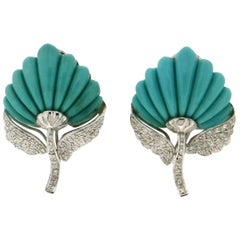 Handcraft Leaves Turquoise 18 Karat White Gold Diamonds Stud Earrings