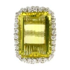 Handcraft Lemon Quartz 18 Karat White Gold Diamonds Cocktail Ring