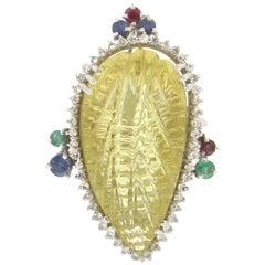 Handcraft Lemon Quartz 18 Karat White Gold Diamonds Ruby Sapphires Cocktail Ring