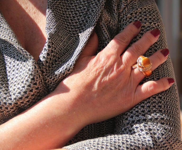 Handcraft Lion 14 Karat Yellow Gold Ring Diamonds Enamel For Sale 4