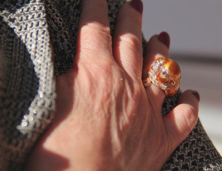 Handcraft Lion 14 Karat Yellow Gold Ring Diamonds Enamel For Sale 5