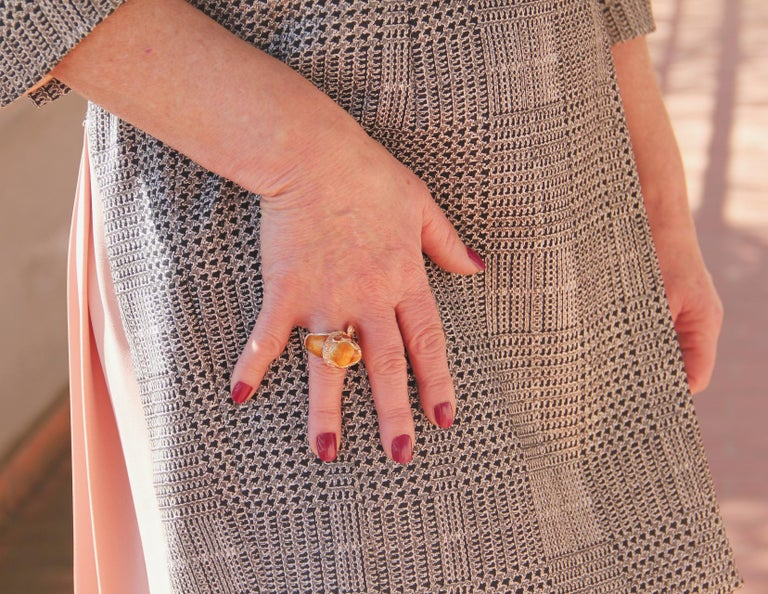 Handcraft Lion 14 Karat Yellow Gold Ring Diamonds Enamel For Sale 6